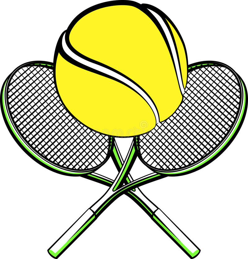 Download Tennis Ball With Crossed Rackets Stock Vector - Illustration of ball, leisure: 32834698