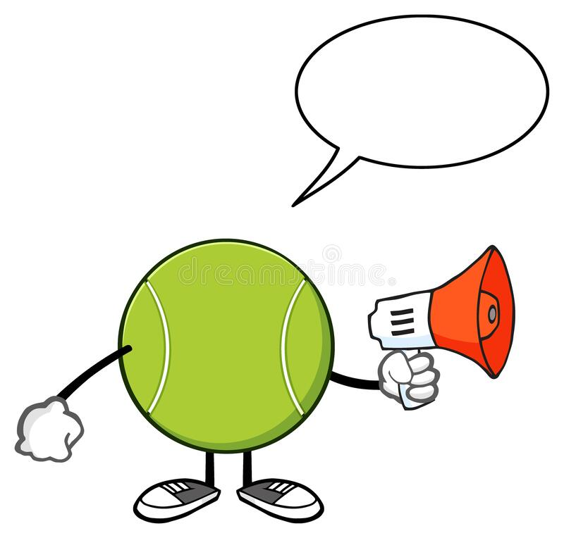 Free Tennis Ball Faceless Cartoon Mascot Chcarater An Announcement Into A Megaphone With Speech Bubble. Royalty Free Stock Photography - 182681447