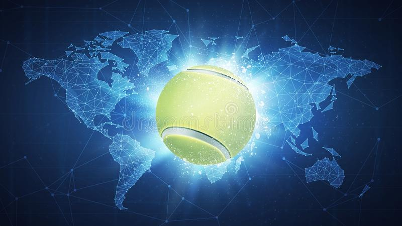 Tennis ball flying on world map background stock illustration download tennis ball flying on world map background stock illustration illustration of invitation gumiabroncs Images