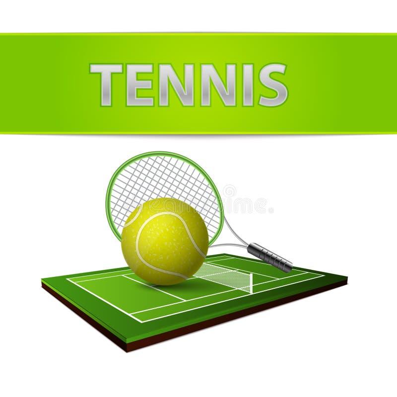 Tennis ball and green grass field emblem stock illustration