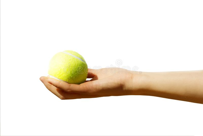 Tennis ball in hand isolated royalty free stock photo