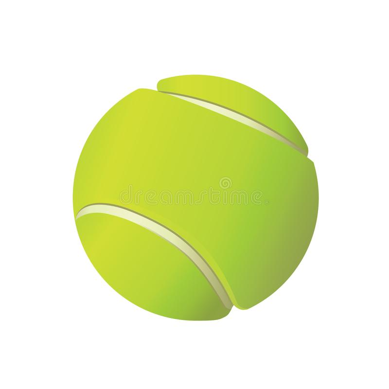 Tennis Ball Illustration on White Background. Standard yellowish green tennis ball with gradient. Illustration vector on white background royalty free illustration