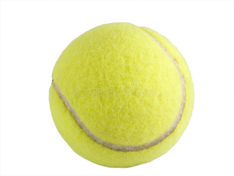 Tennis Ball Isolated. A close up on a yellow tennis ball isolated on a white background stock photos