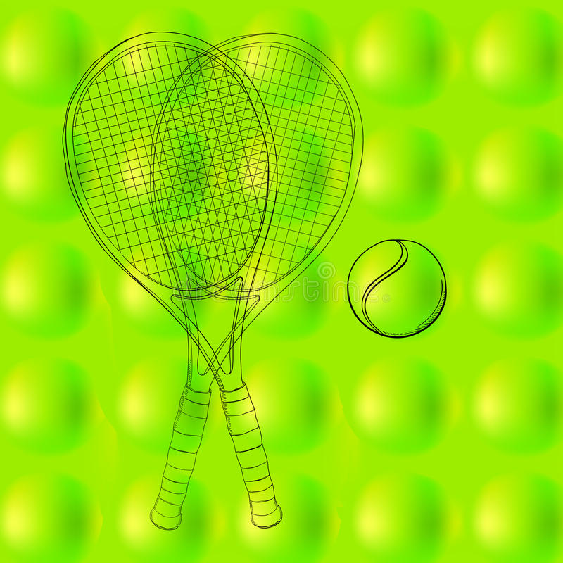 Tennis ball pattern, background, texture with two rackets. Hand drawn, sketch. drawing sport. Abstract green, spring and vector illustration