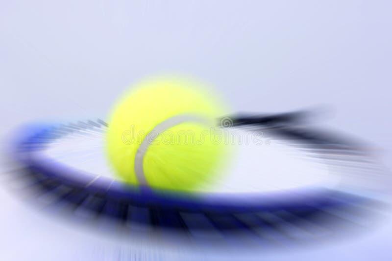 Tennis ball and racket. Creative design of tennis ball and racket stock photos