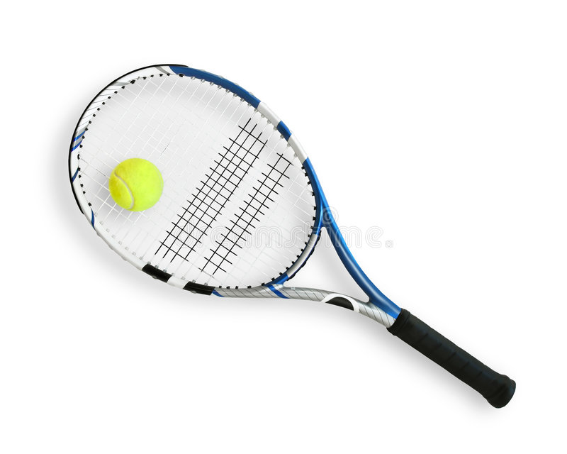 Tennis ball and racket royalty free stock photo