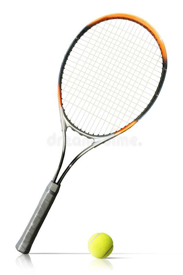 Tennis ball and racket isolated the white background royalty free stock photography