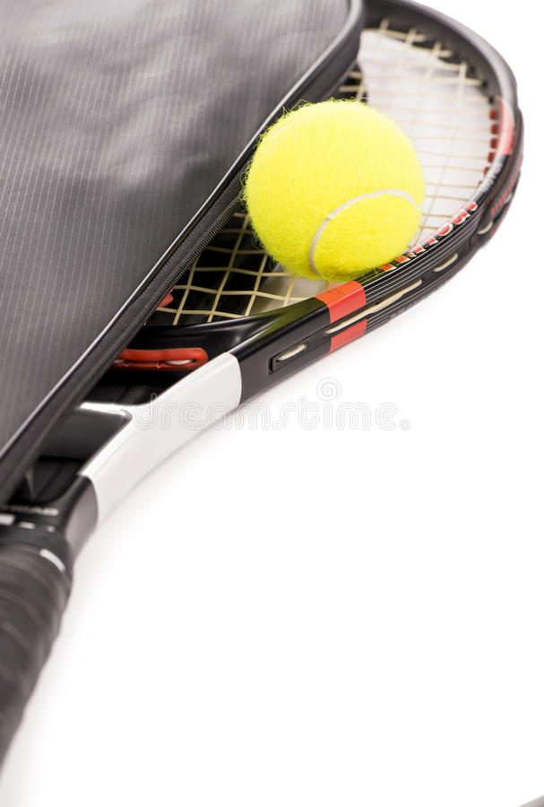 Tennis ball and racket on a white background royalty free stock photo