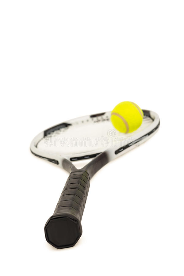 Tennis ball and racket on white background royalty free stock photo