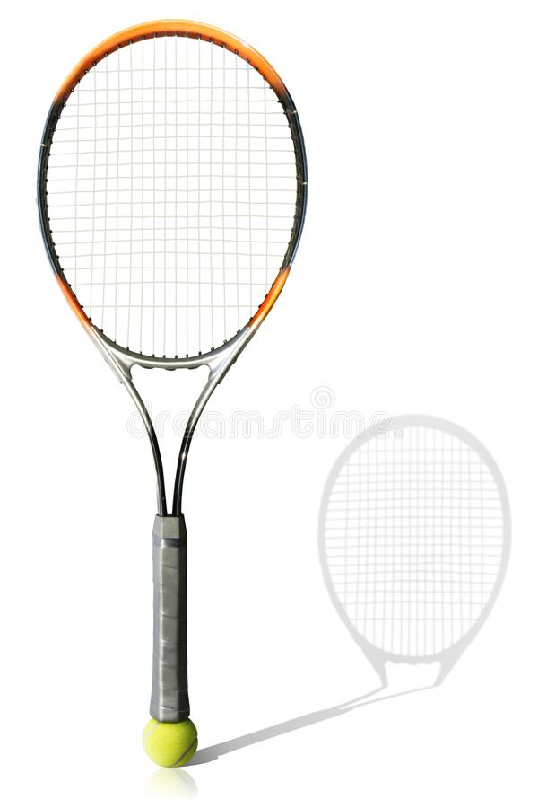 Tennis ball and racket the white background stock photos
