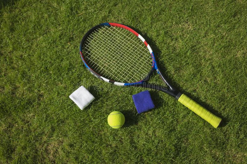 Tennis ball, racket and wristbands on grass field ground under sunlight.  stock photo
