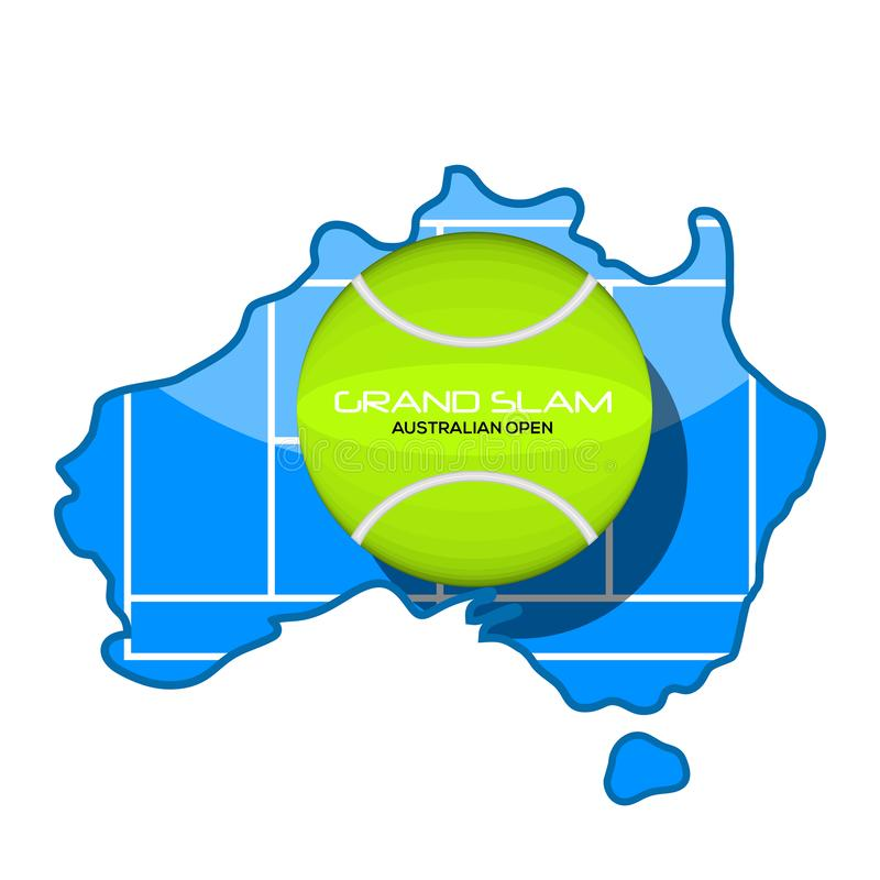 Tennis ball with text on a map stock illustration