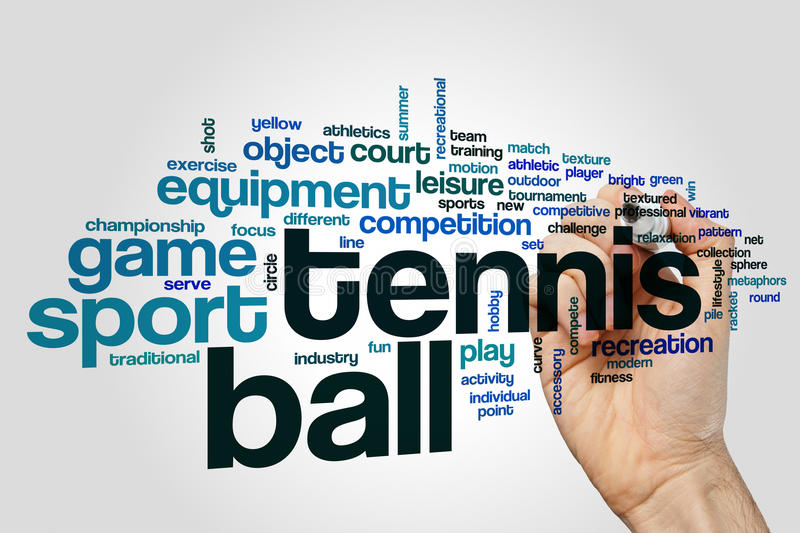 Tennis ball word cloud royalty free stock photography