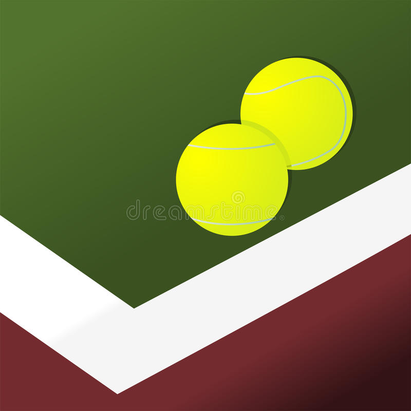 Tennis balls on court. Near the game area limit royalty free illustration