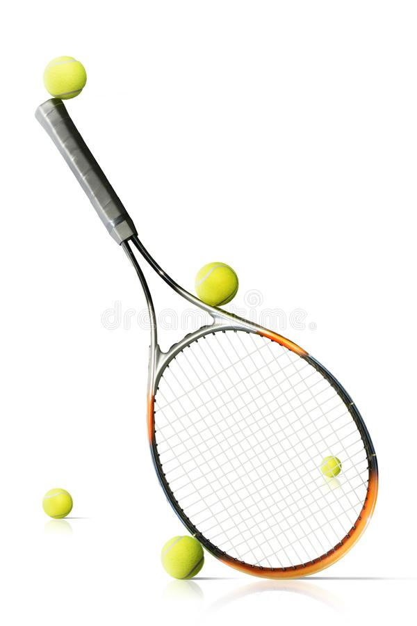 Tennis balls and racket isolated the white background stock photo