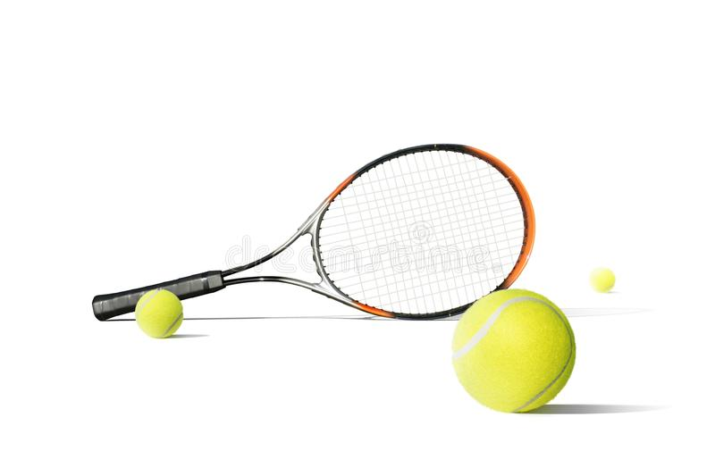 Tennis balls and racquet isolated the white background royalty free stock images