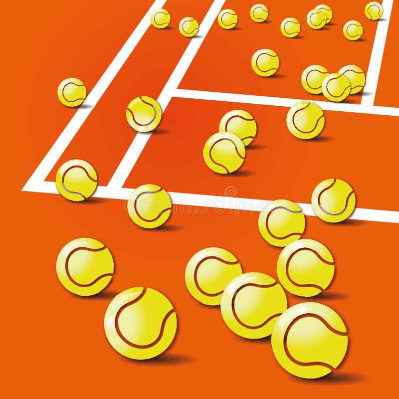 Tennis balls, tennis and tennis court royalty free illustration