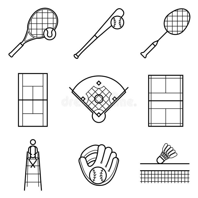 Tennis-, Baseball- u. Badminton Zeilendarstellungssatz vektor abbildung
