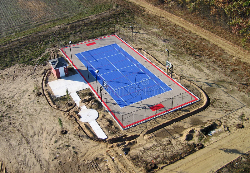 Tennis and baseketball court - Aerial stock photography