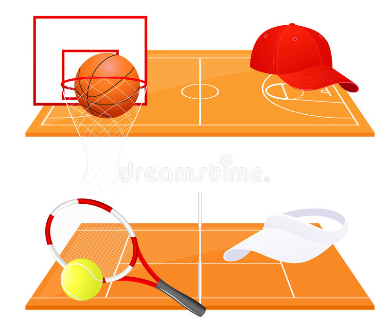 Tennis and basketball backgrounds vector illustration