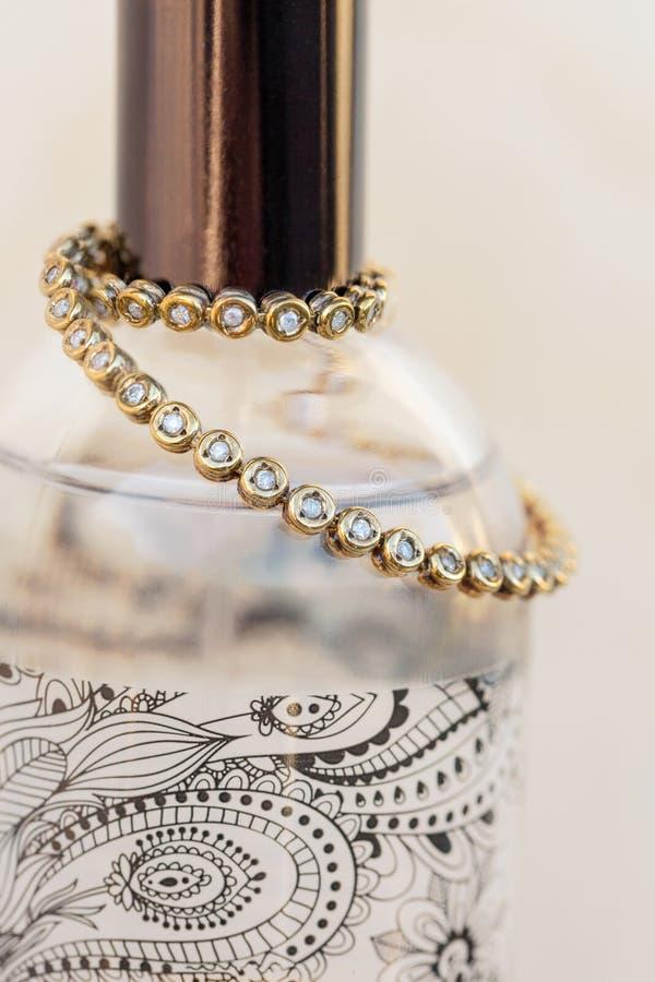 Gold And Diamond Tennis Bracelet royalty free stock photography