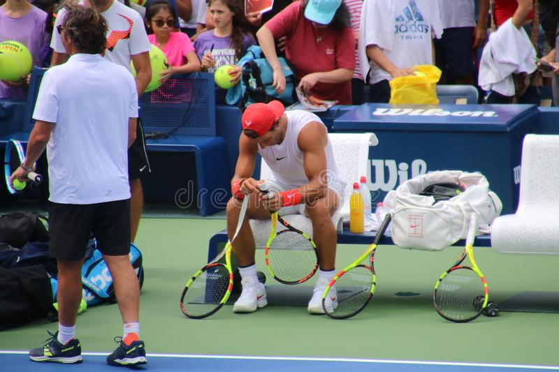Rafael Nadal. Tennis champion Rafael Nadal during a practice session, at the 2018 US Open royalty free stock photos