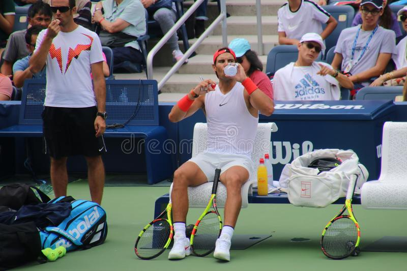 Rafael Nadal. Tennis champion Rafael Nadal during a practice session, at the 2018 US Open stock photography