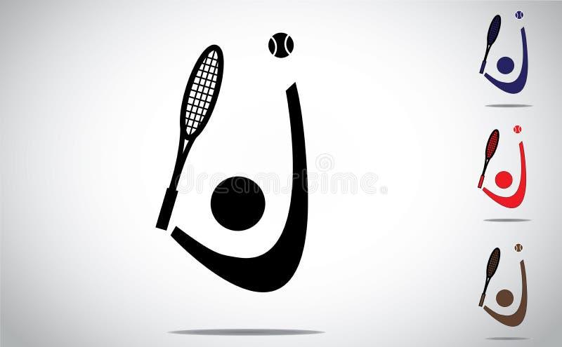 Tennis che gioca servendo con la racchetta e lanciando palla illustrazione vettoriale