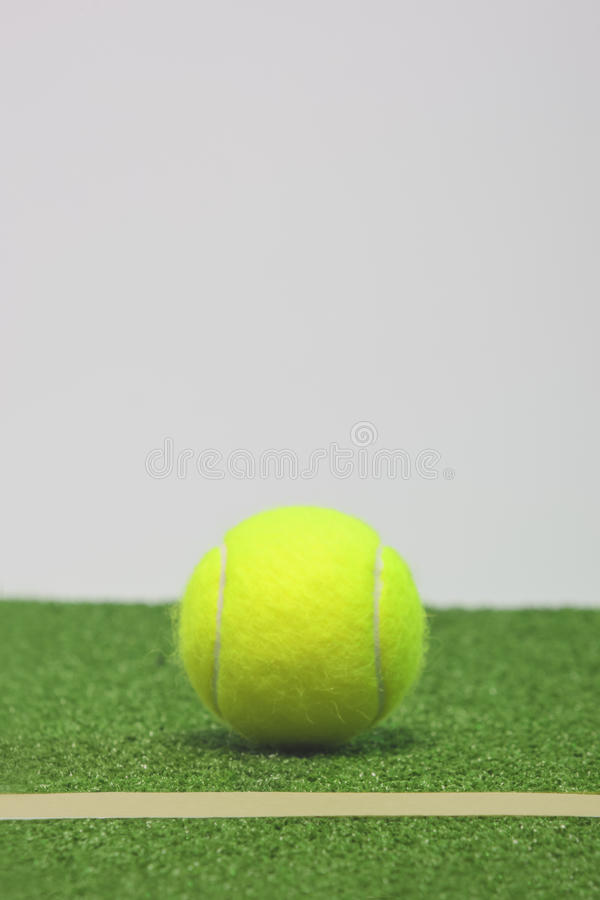 Download Tennis Composition. Yellow Ball, Line And Grenn Grass Tennis Cou Stock Image - Image: 33042273