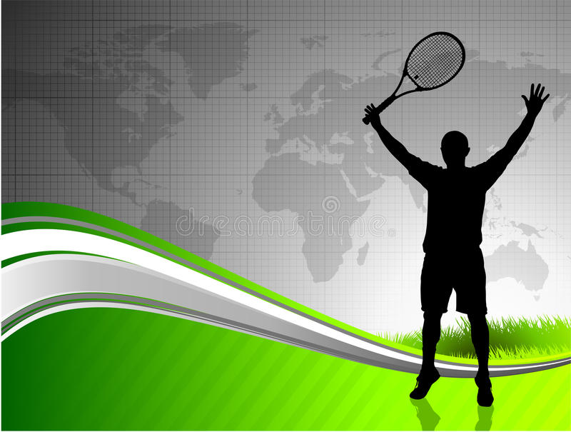 Tennis con la mappa di mondo illustrazione di stock
