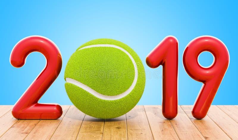 Tennis 2019 concept op de houten lijst het 3d teruggeven royalty-vrije illustratie