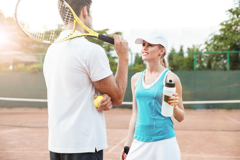 Tennis couple stock photos