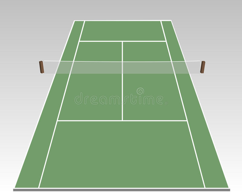 Tennis court. A stylized tennis court showing all relevant lines royalty free illustration
