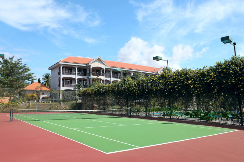 Tennis Court. Empty tennis court at tropical resort stock photo