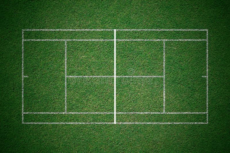 Tennis court, green grass with white line from top view. royalty free illustration