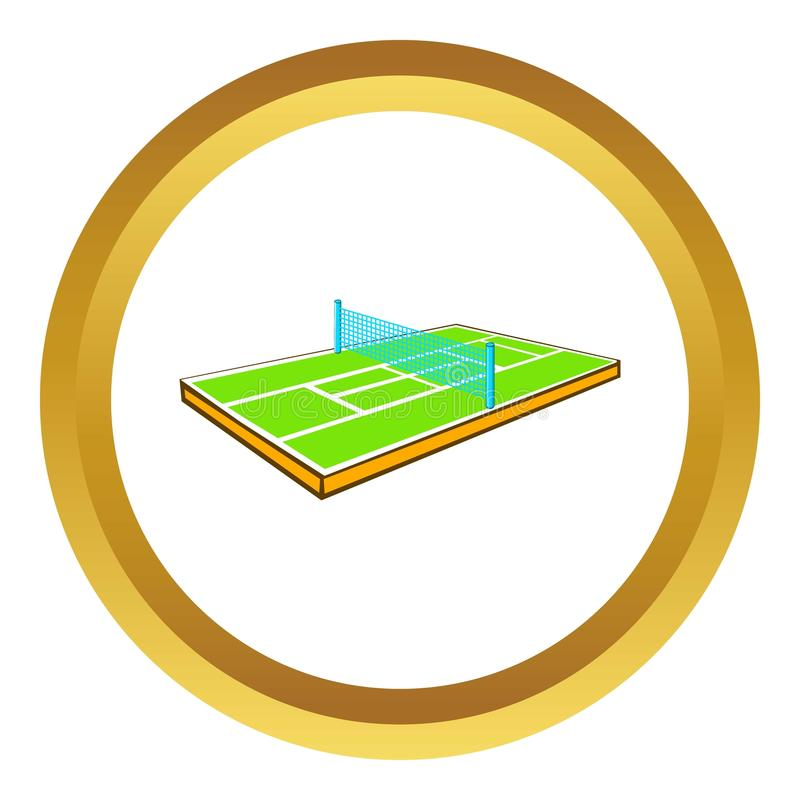 Tennis court icon. In golden circle, cartoon style isolated on white background vector illustration