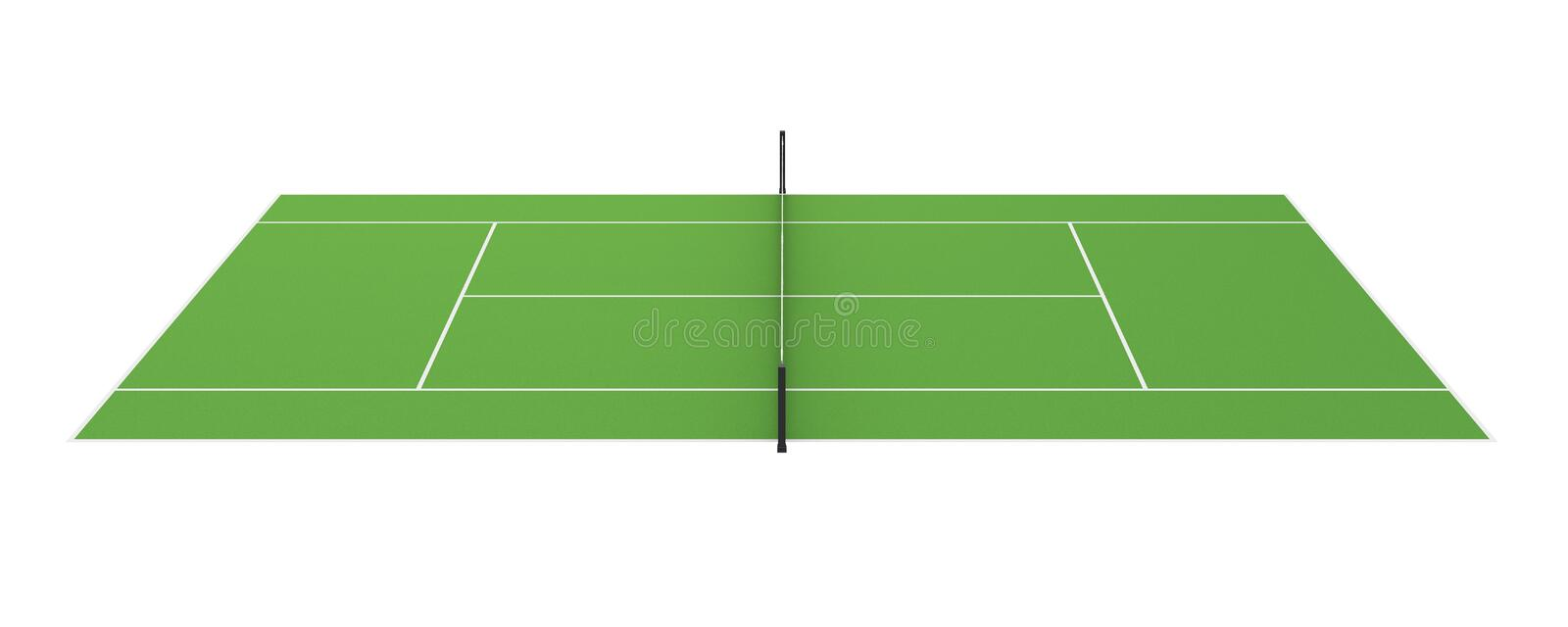 Tennis Court Isolated. On white background. 3D render stock illustration
