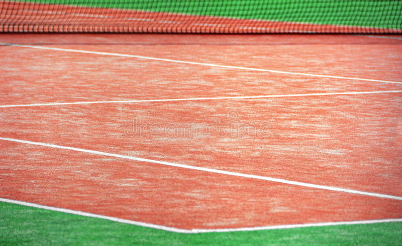 Tennis court. With lines and net stock photography