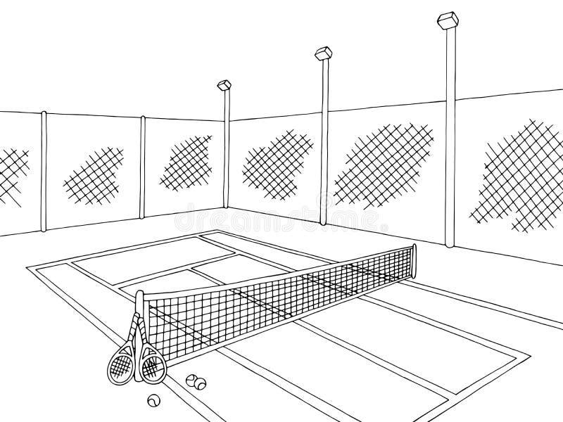 Tennis court sport graphic black white sketch illustration vector. Tennis court sport graphic black white sketch  vector royalty free illustration