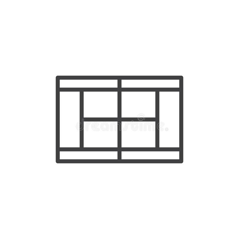 Tennis court top view line icon. Linear style sign for mobile concept and web design. Tennis field scheme outline vector icon. Symbol, logo illustration. Pixel royalty free illustration