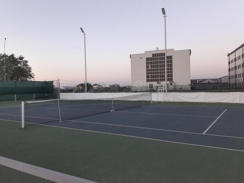 Tennis court. Uralsk tennis court of the country Kazakhstan stock photos