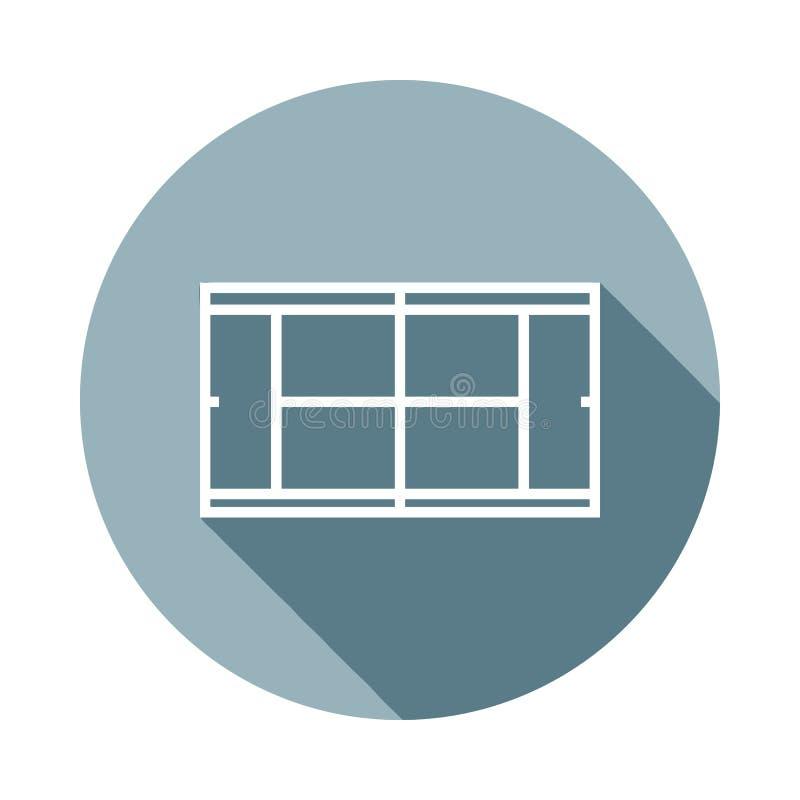 Tennis courticon im flachen langen Schatten Ein der Netzsammlungsikone kann für UI/UX verwendet werden vektor abbildung