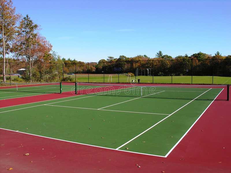 Tennis courts. In fall royalty free stock photos