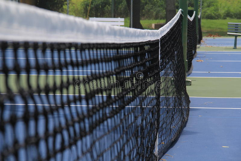Tennis courts. Close up of tennis net on courts in lafayette louisiana beaver park stock photo