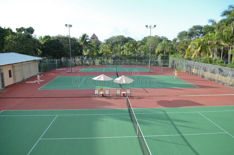Tennis courts. In a sunny day stock photo