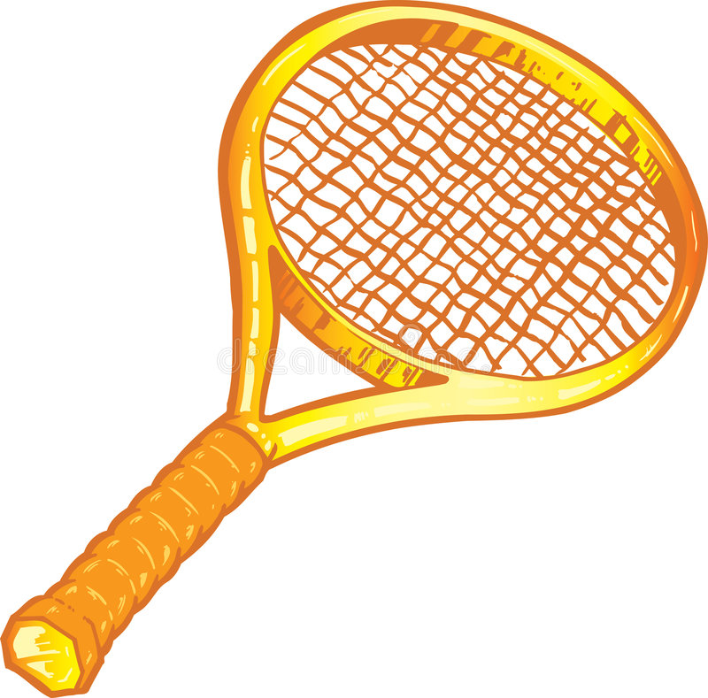 tennis de raquette d'illustration d'or illustration de vecteur