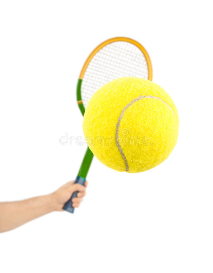 tennis de raquette de main de bille photos stock