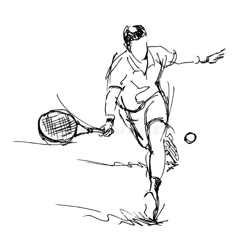 Tennis di schizzo della mano illustrazione vettoriale