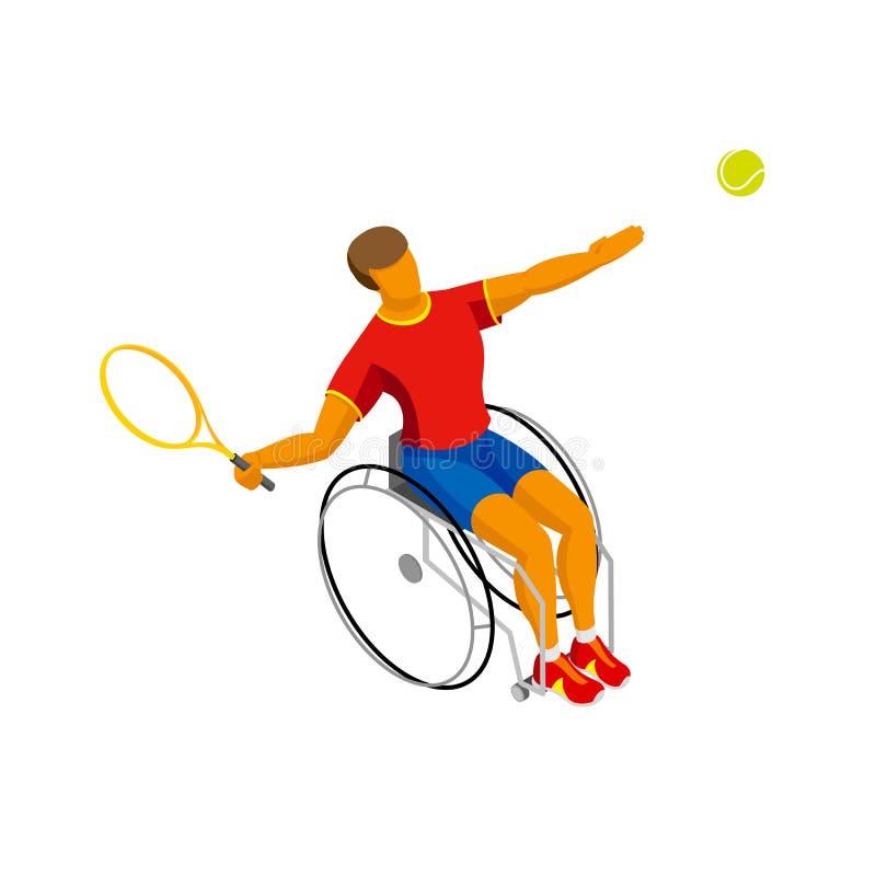 Tennis disabile isometrico isolato su fondo bianco royalty illustrazione gratis