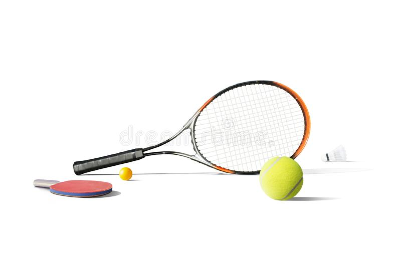 Tennis equipment isolated in the white background stock image